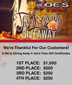 Joe's Tires Thanksgiving Giveaway