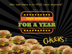 Cheeks Free Burgers for a Year Sweepstakes