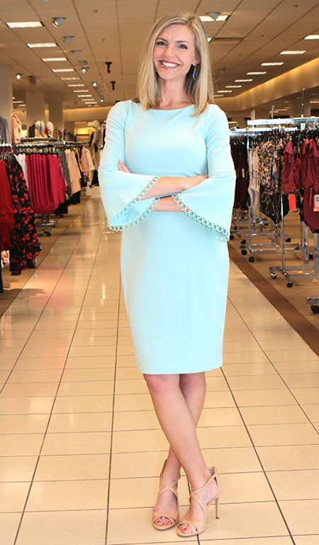 Angie In Calvin Klein Mint Bell Sleeve Dress