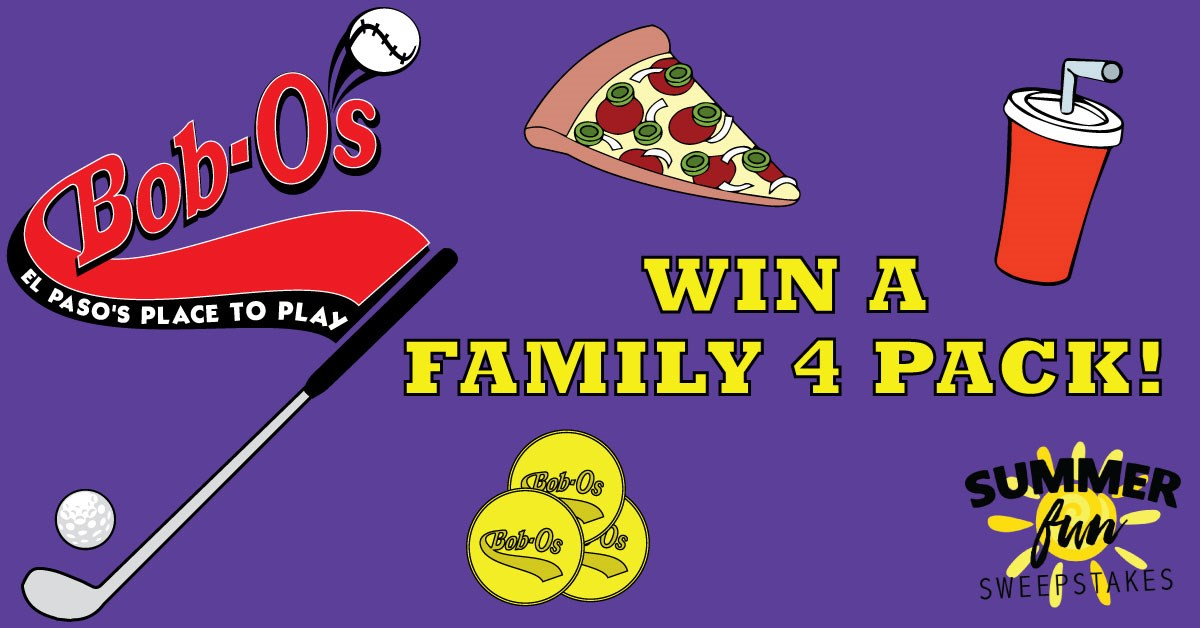 Win a family 4-pack from Bob O's good for: - One round of golf for four