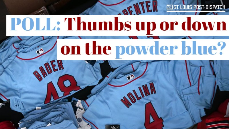 45edfee33711 Poll  Thumbs up or down on the powder blue Cardinals uniforms