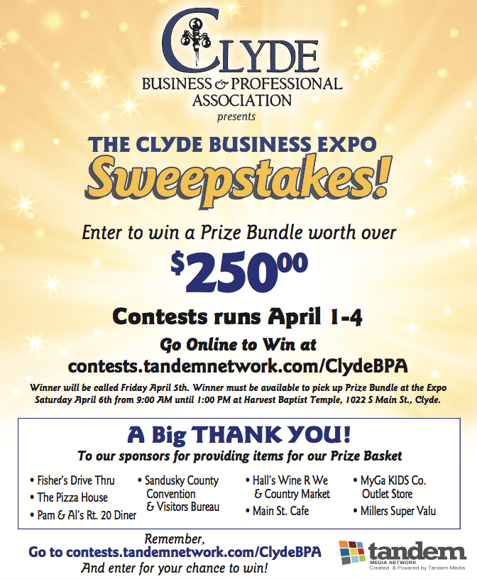 Clyde BPA Sweepstakes – Tandem Media Network Contests