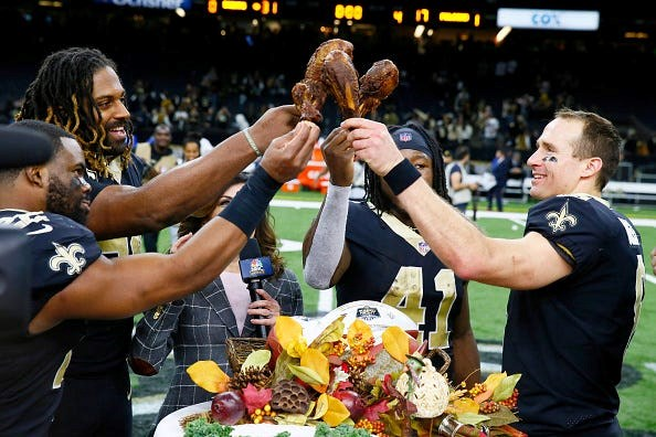 Drew Brees and the Saints will play on Thanksgiving night