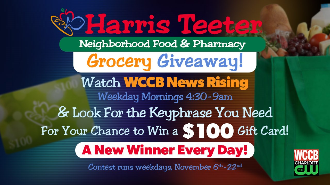 one winner every weekday between november 6th and november 22nd will win a 100 harris teeter gift card for your chance to win watch wccb news rising - Harris Teeter Christmas Hours